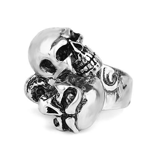 Skull Brothers Ring, Europa y Americana Moda Personalidad Punk Dominio Anillo de aleación Joyería (2 Piezas),10