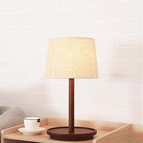 Bedside Lamp, Nordic Minimalist Modern Warm Bedroom Bedside Lamp, Bedroom Lamp, Living Room, Eye Source, Linen Lampshade (Color : Brown)