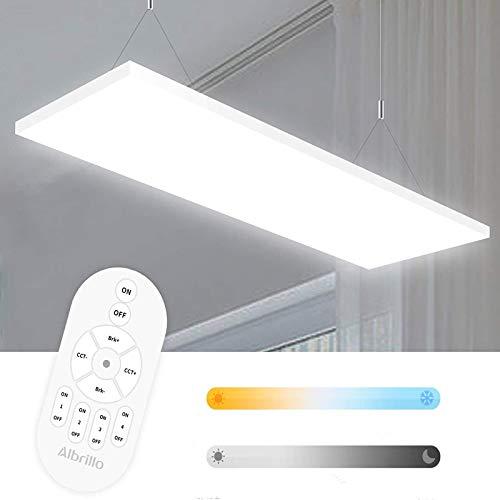 Albrillo Frameless LED Panel 120x30cm - 35W Dimmbar und Farbtemperatur Einstellbar (2700-6500K) Deckenleuchte Inkl. Fernbedienung, Einstellbare Seilaufhängung und LED Trafo