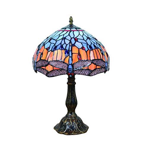 Tokira Vintage Tiffany Stijl Tafellamp 12 Inch, Gebrandschilderd Glaspatroon Handgemaakte Slaapkamer Nachtlampje, Blauwe Libel Lampenkap Woonkamer Decoratie Lamp
