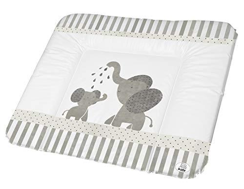 Rotho Babydesign Matelas à Langer, Dès 0 Mois, Modern Elephants, Bella Bambina, Blanc/Gris, 72 x 85 cm, 200620001CG