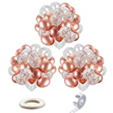 Rose Gold Balloons|Confetti Balloons,DIY Balloon Arch Kit,12 Inch Balloons 52 PCS -Rose Gold Confetti Balloons,with Ribbon and Tape Strips,for Birthday, Wedding,Baby Shower Party