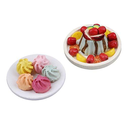 Amagogo 2 Piezas 1/12 Casa de Muñecas Miniatura Cocina Juego de Alimentos Albóndigas Vegetales Y Postre