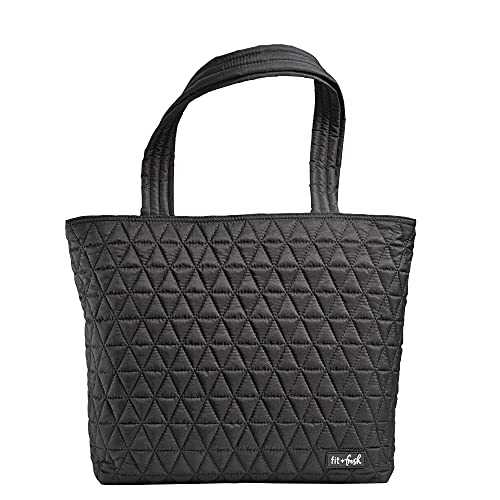 Fit & Fresh Metro-Tote 2 in 1 Quilted 15' Laptop Bag with Insulated Lunch Compartment, Black