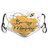 YILINGER Mens Womens Mouth Scraf Face Field Bee Ing Mommy Decorated Hearts Honey Bees Sweet Card Template for Mothers Day