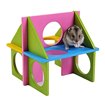 1xToruiwa Hamster Gym Wood Exercise House Toy for Pet Dwarf Hamster Gerbil Rat Mouse Small Animals by Toruiwa