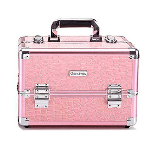 Cvthfyk Cas de beauté en Aluminium Professionnel Make Up Nail Cosmetic Box Organisateur de vanité Motif Crocodile (Couleur : Rose, Size : M)