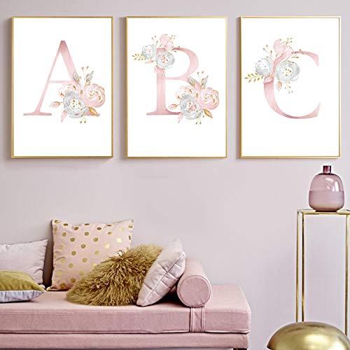 Gymqian Impresión en Lienzo Flores Rosadas Carteles e Impresiones para bebés Nursery Art Painting Arte de la Pared Imágenes para niñas Decoración de la habitación Mural 45x60cmx3 Sin Marco