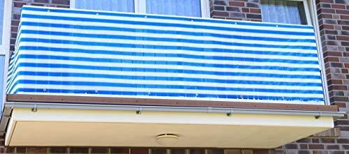 JJ Blau Weiß 0,9x7 Meter PE Sichtschutzmatte, Balkonverkleidung, Windschutz, UV-Schutz für Balkon (0,9x7 Meter)
