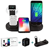 BTCHARGE Wireless Charger Dock – 4-in-1 Multiple Device Fast Charging Station – Qi Fast Wireless Charging Stand Compatible iPhone 11, 11 Pro, X, XS, XR, XS Max, 8, 8 Plus, Samsung