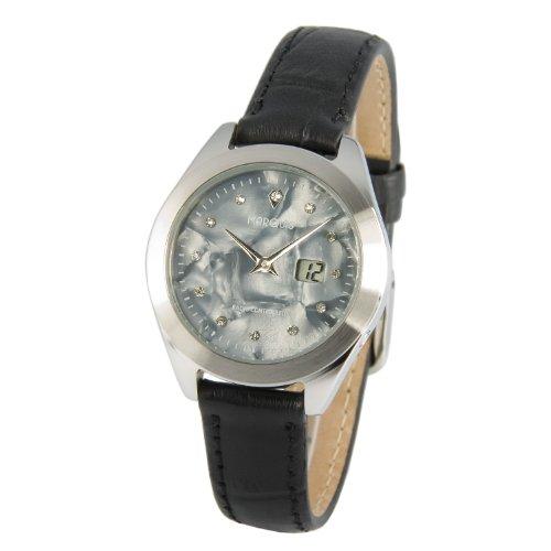 Elegante MARQUIS Damen Funkuhr Armbanduhr (Junghans-Uhrwerk) Edelstahlgehäuse, Lederarmband mit Edelstahlverschluss - 964.4110