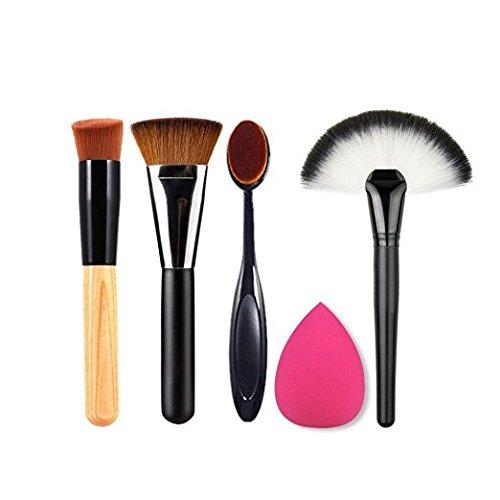 BIGBOBA Lot de 5 pinceaux de maquillage professionnels pour le maquillage, les yeux, les yeux, les eyeliners, les ombres à paupières, les pinceaux pour fond de teint liquide