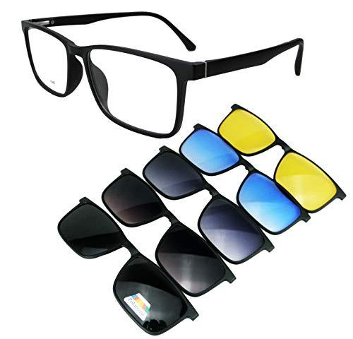 Circleperson Clip on Sunglasses 5 in 1 Optical-grade Magnetic glasses Spring hinges Large size(Frame:Matte black, 57)