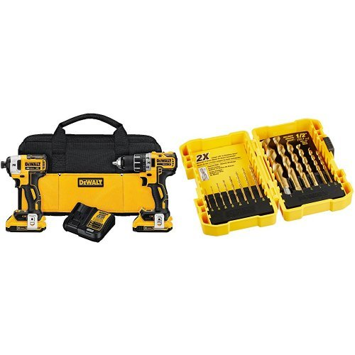 DEWALT DCK283D2 MAX XR Lithium Ion Brushless Compact Drill/Driver & Impact Driver Combo Kit, 20V with Titanium Speed Tip Drill Bit Set