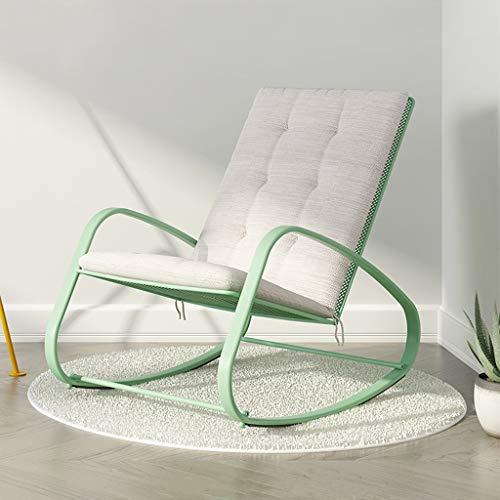 Shi xiang shop Sillas mecedoras con cojín y Brazo Blandos, sillón cómodo, sillón, tumbonas de Acero de Alta Resistencia for Acampar, Pesca, Playa, Patio (Color : Green)