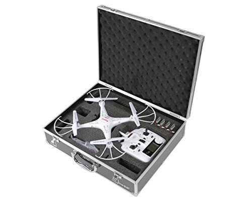 HMF 18301-02, Maletín de transporte, maletín apto para drones Syma X5C, X5SC, X5, hasta 5 baterías, 42,5 x 33,5 x 11,5 cm, negro