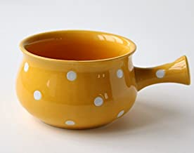 Ceramic Porcelain Soup Bowl with Handle - French Onion Soup Bowl (2, Yellow/White)