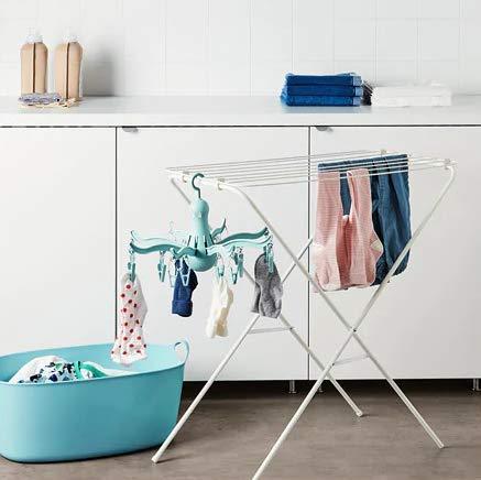 Ikea Pressa Séchoir à suspendre 16 pinces en forme de pieuvre pliable Bleu foncé