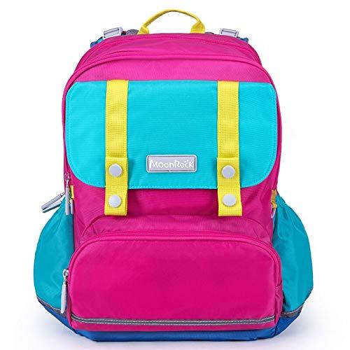 QunWang Kinderrucksack Nähen Grundschultasche Computertasche Kinder Umhängetasche Nachtleuchtstoff Geeignet Für Klasse 1-3 Rose-OneSize