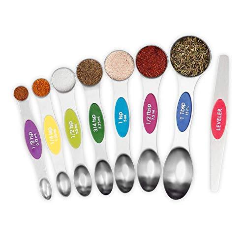 Magnetic Measuring Spoons Set Stainless Steel sauce Spoons Fits in Spice Jars Set of 8 is Oil Salt Sauce and Vinegar Measuring Tool