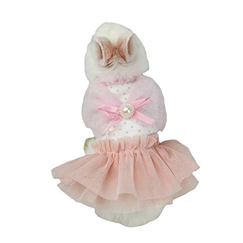 FLAdorepet Cute Bunny Rabbit Dress Clothes for Mini Dog Small Animal Chinchilla Easter Costume Outfits (XXS(Chest 9.4inch), Light Pink)