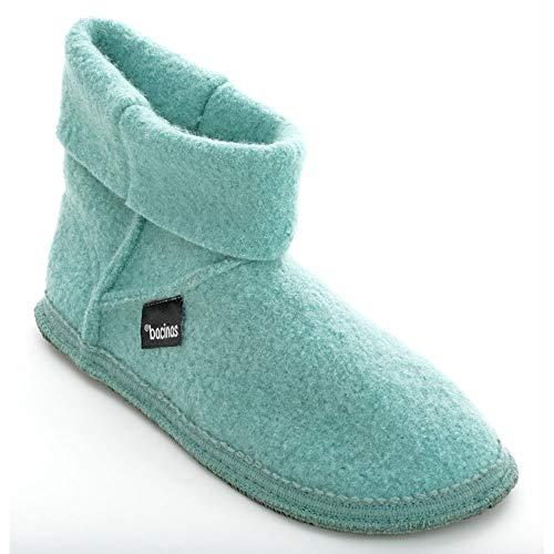 Bacinas hohe Hausschuhe Stiefel Damen - warme Filz-Pantoffeln aus Schafwolle Größe 36-42 Winterhausschuhe
