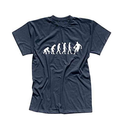 T-Shirt Evolution Basketball dribbeln Sport Jordan NBA 13 Farben Herren XS - 5XL DBB Alba Brose 46ers Dunking Olympia Bulls Celtics Spurs, Größe:L, Farbe:Navy - Logo Weiss