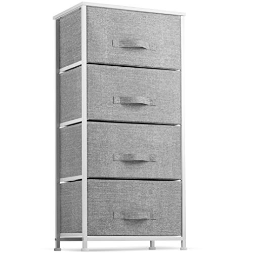 Lowest Price! Dresser with 4 Drawers – Tall Storage Tower Unit Organizer for Bedroom, Hallway, Closet, College Dorm – Chest Drawer for Clothes, Steel Frame, Wood Top, Easy Pull Fabric Bins (Gray/White)