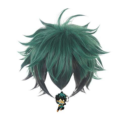 ZeroGoo Anime Mha Bnha Izuku Midoriya Deku Cosplay Wig Include Wig Cap for Women Men Kid Halloween Costume Cosplay (Green - Black)
