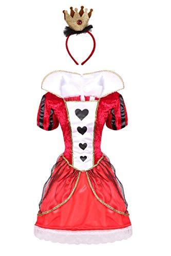I LOVE FANCY DRESS LTD HERZKÖNIGIN KOSTÜM FÜR Damen. KOSTÜM DER HERZKÖNIGIN FÜR Erwachsene ZUM WELTBUCHTAG/BUCHWOCHEK. Alice's WUNDERLAND HERZKÖNIGIN Kleid + Krone (X-GROẞ)