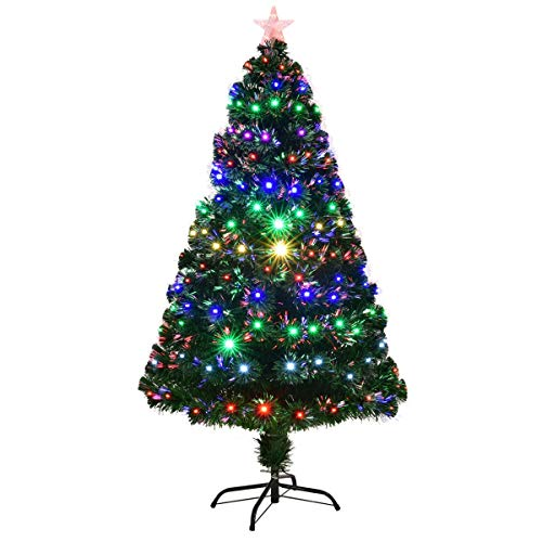 Toolsempire 7FT Multicolor LED Light Fiber Optic Artificial Christmas Tree w/Top Star (7')