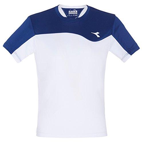 Diadora - Maglietta da Ragazzo, Colore: Bianco, Blu Scuro, M