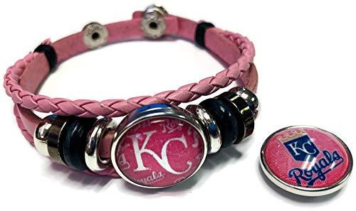 Breast Cancer Awareness MLB Kansas City Royals Pink Leather Bracelet W/2 Snap Jewelry Charms