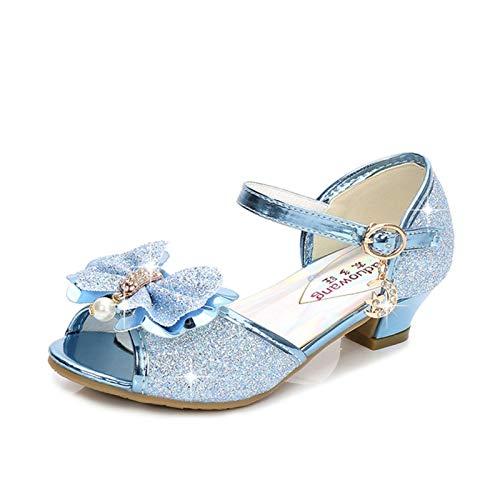 Youpin Zapatos de piel para niñas de princesa con purpurina, estilo casual, con purpurina, para niños, de tacón alto, con nudo de mariposa, azul, rosa, plata (color: azul B, talla de zapato: 36)
