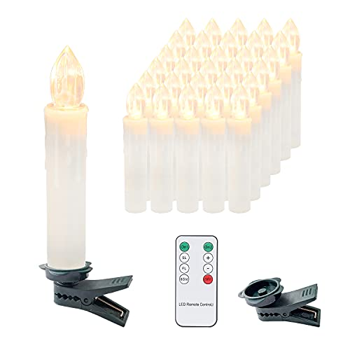 Clanmacy 30er LED Kerzen Weihnachtskerzen Kabellos mit Fernbedienung Timer, Flammenlose Kerzenlichter Dimmbar, warmweiß lichterkette für Weihnachtsbaum Weihnachtsdeko