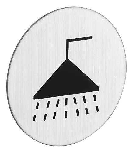 ROSTEX Edelstahl Duschen Schild/Sanitär Rund - Piktogramm Dusche selbstklebend kreisrund