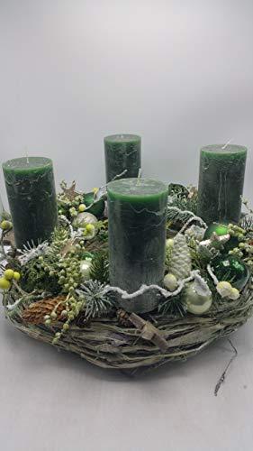 Weihnachtskranz Seidenblumengesteck Adventskranz Kerzen Kugeln Beeren Zapfen XL