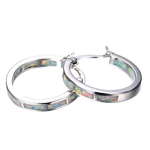 Women Fashion Elegant Multicolor Faux Fire Opal Inlaid Circle Dangle Hoop Earrings Wedding Party Daily Jewelry Gift - White