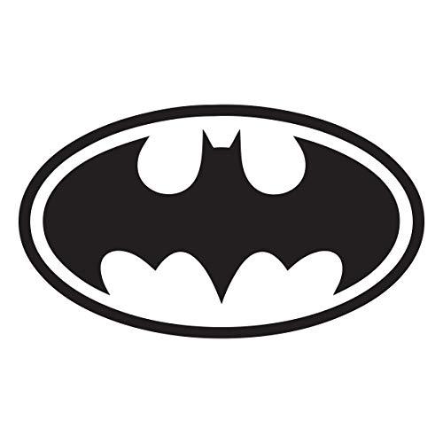 Batman-Emblem mit Logo, Vinyl, Wandbild, Wandaufkleber, Schablone fürs Aufkleben im Kinderzimmer, Vinyl, Schwarz , 60x32