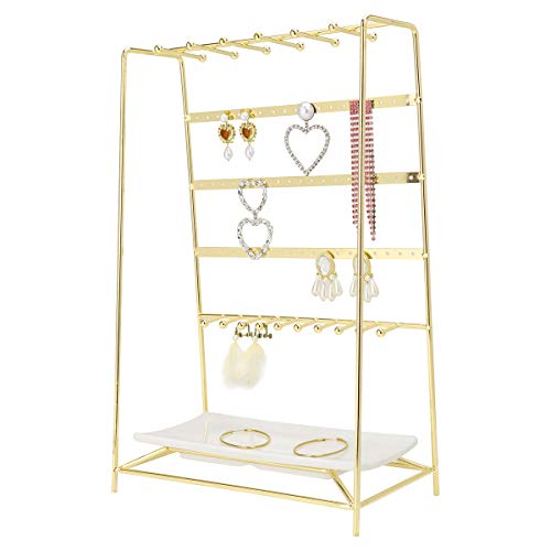 MORIGEM Jewelry Organizer 5 Tier Jewelry Stand Decorative Jewelry Holder Display with White Tray for Necklaces Bracelets Earrings amp Rings Gold