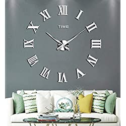 SIEMOO Large DIY Wall Clock Kit, 3D Frameless Wall Clock with Mirror Number Stickers for Home Living Room Bedroom Office Decoration-Silver