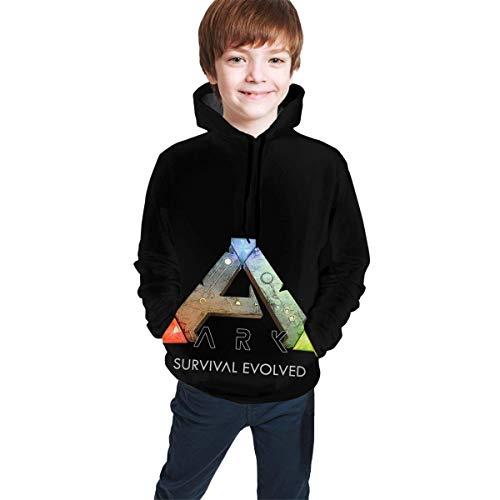 Sudadera con Capucha para Adolescentes, niños y niñas, cálida, cómoda y Transpirable, Color Negro Ark Survival Evolved XL