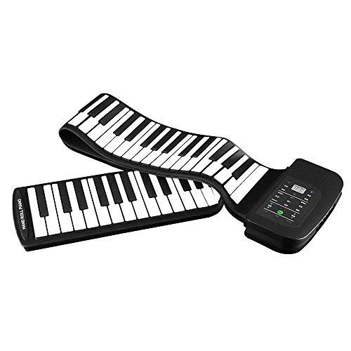 Queenser Portátil 88 teclas de silicone rolo flexível Up Piano dobrável teclado Hand-rolando Piano com bateria Sustain Pedal