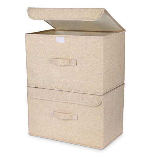 DIMJ Cajas Almacenaje Lavable, Juegos de 2 Cajas Organizadoras con Tapa y Asa, Cubos de Almacenamiento Plegable, Cajas de Tela para Ropa Juguetes Libros