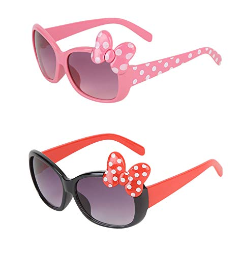 Amour Rectangular Baby Girl's Sunglasses { Age 4+ } with 2 FREE Hard cases ( Pink & Black Pack of 2, Medium)