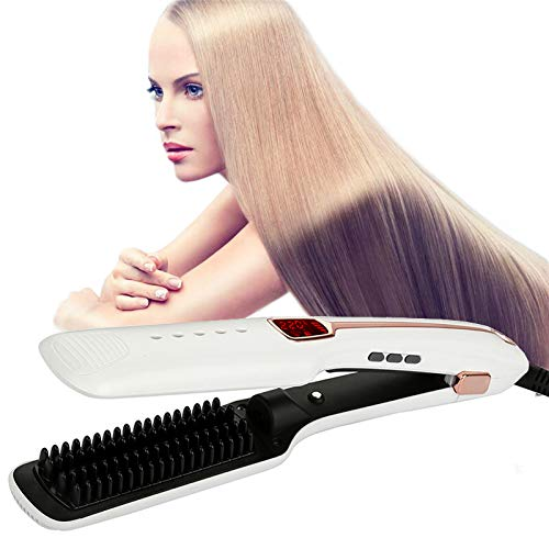 Purchase LOGYI Ceramic Ionic Hair Straightener, 3-in-1 LCD Display Steam Hot Air Brush,Anti-Scald Au...