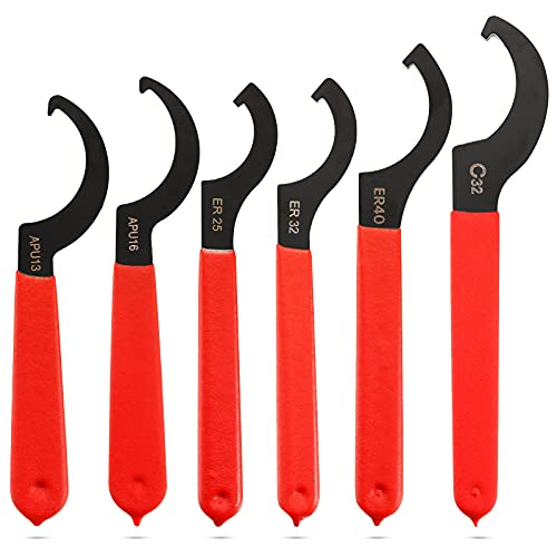 Honoson 6 Pieces Coilover Adjustable Spanners Adjustable Hook Wrenches Tools Coilover Wrench Steel Spanner for Coilover System