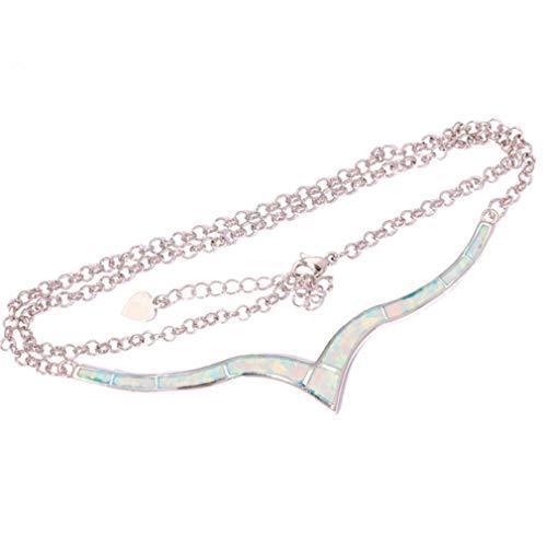 MOONQING Collar de cadena de clavícula con colgante de ópalo para mujeres y niñas.
