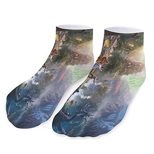 Alicia en el país de las maravillas calcetines deportivos cortos casuales para hombres y mujeres elásticos, transpirables y cómodos, bonitos y divertidos calcetines personalizados