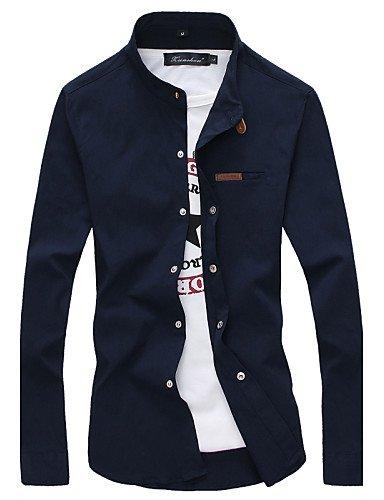 HAN-NMC Men's Fashion Stand-Up Collar Chemise Manches Longues,L,Bleu Marine